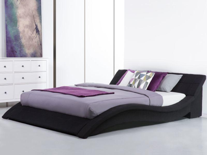 Lit design en tissu double 180x200 cm noir vichy 13820