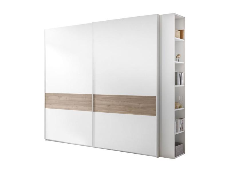 Armoire 2 portes coulissantes blanc/noyer clair - aniece n°3 - l 275 x l 64 x h 248 - neuf