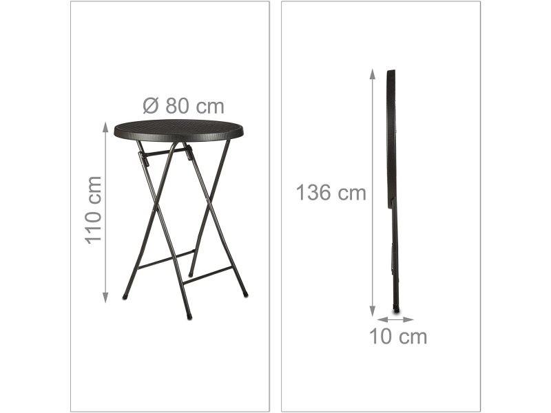 Table haute ronde pliante jardin camping noir helloshop26 13_0002713_2