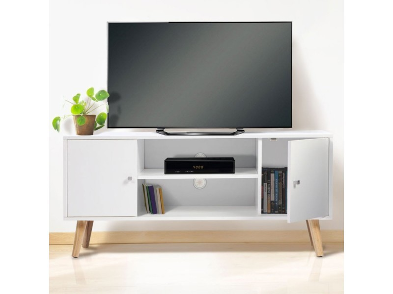 meuble tv effie scandinave bois blanc vente de meuble tv conforama. Black Bedroom Furniture Sets. Home Design Ideas