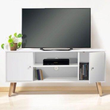 meuble tv effie scandinave 2 portes bois blanc vente de. Black Bedroom Furniture Sets. Home Design Ideas