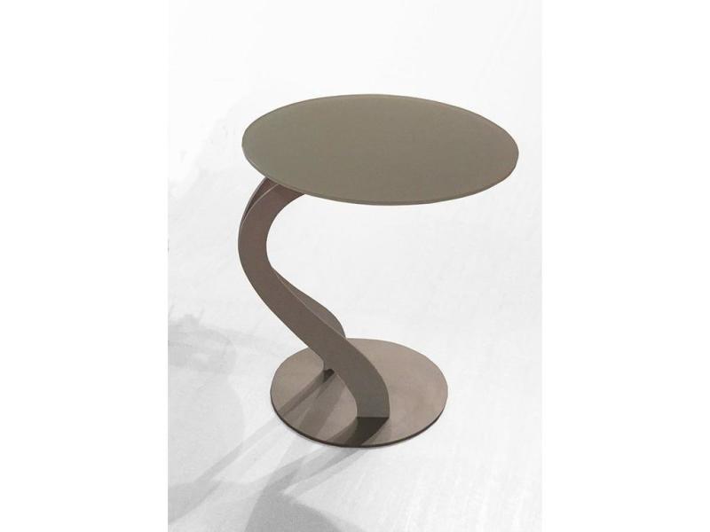 Bout de canapé tom design taupe ovale en verre trempé 20100847141