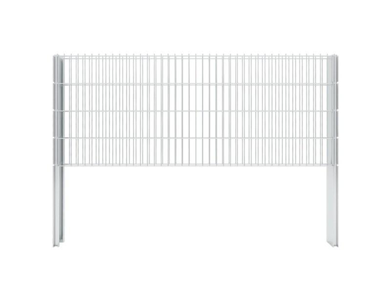 Vidaxl clôture gabion 2d acier galvanisé 2,008x0,83m 16m total argenté 274446