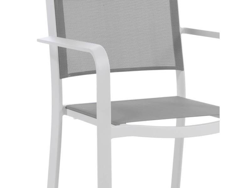 Chaise haute en alu blanc textilène gris clair nassau vente de