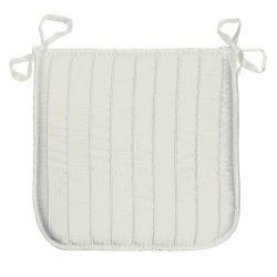 Coussin galette de chaise jacquard rayure blanc naturel 40 x 40 cm