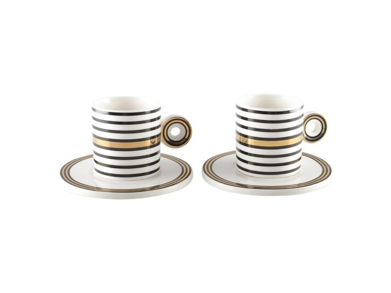 Coffret duo tasses à thé à rayures