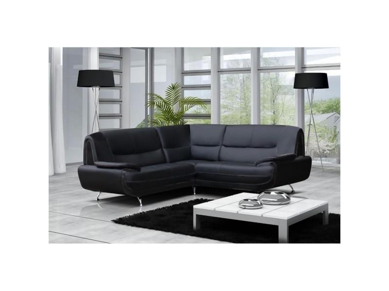 Muza - canapé d'angle design en simili cuir noir