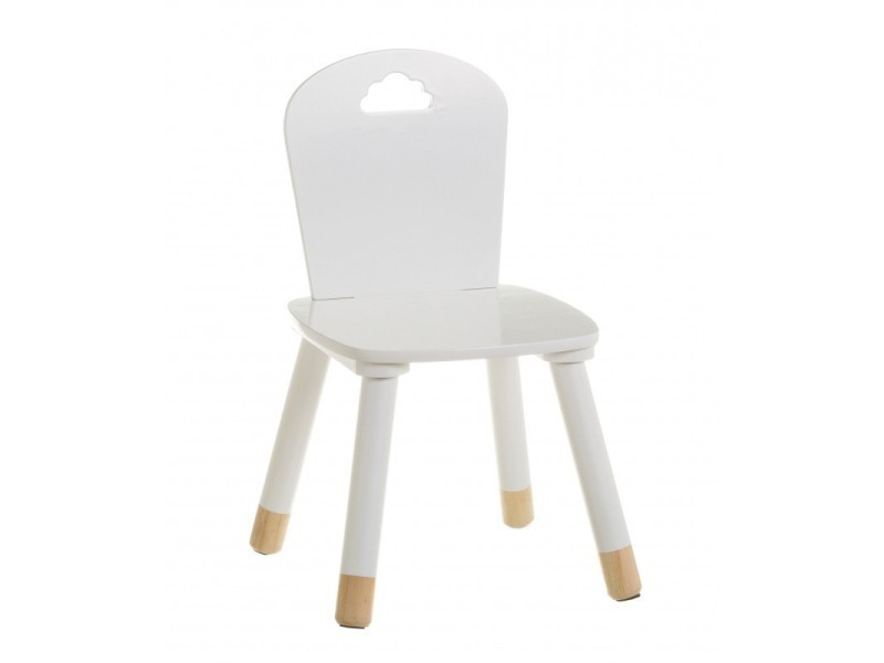 Chaise enfant blanche et bois nuage
