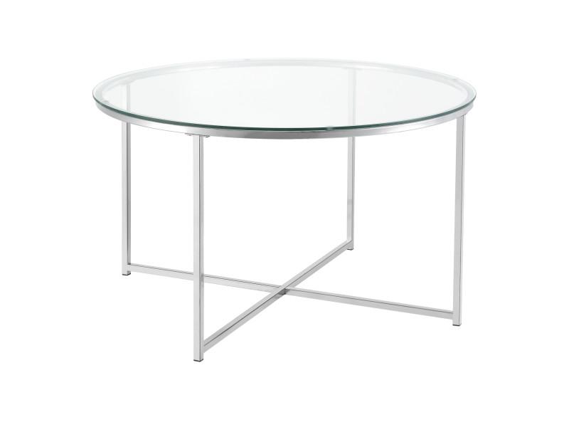 Table basse pour salon table ronde design plateau en verre pieds croisés en acier 80 x 48 cm argenté [en.casa]