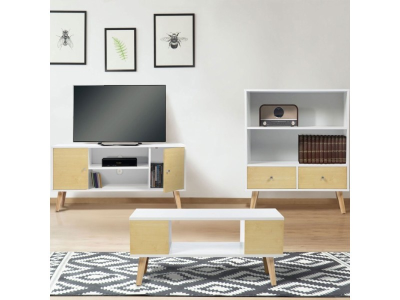 meuble tv effie scandinave bois blanc et imitation h tre vente de id market conforama. Black Bedroom Furniture Sets. Home Design Ideas