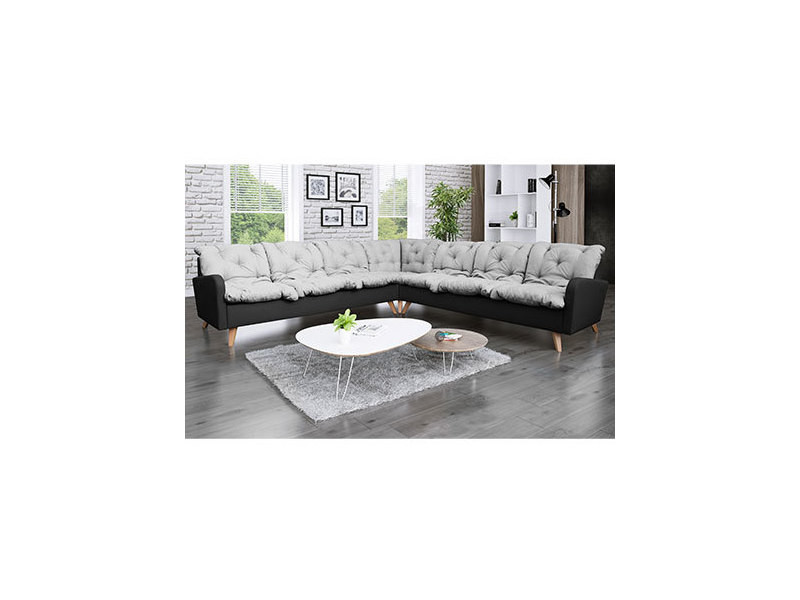 Canapé d'angle panoramique 8 places en microfibre gris-anthracite - twist