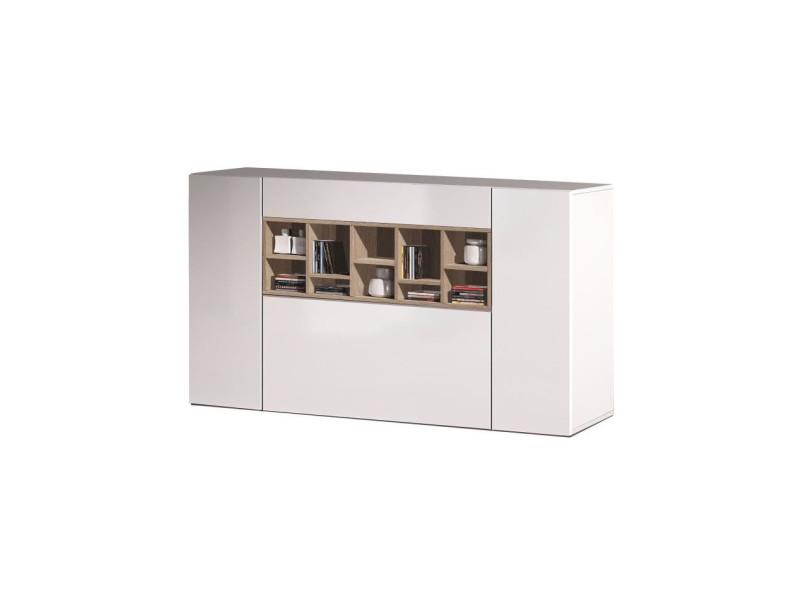 Deco buffet bas contemporain blanc brillant et décor chene canadien - l 150 cm 1F6681BO