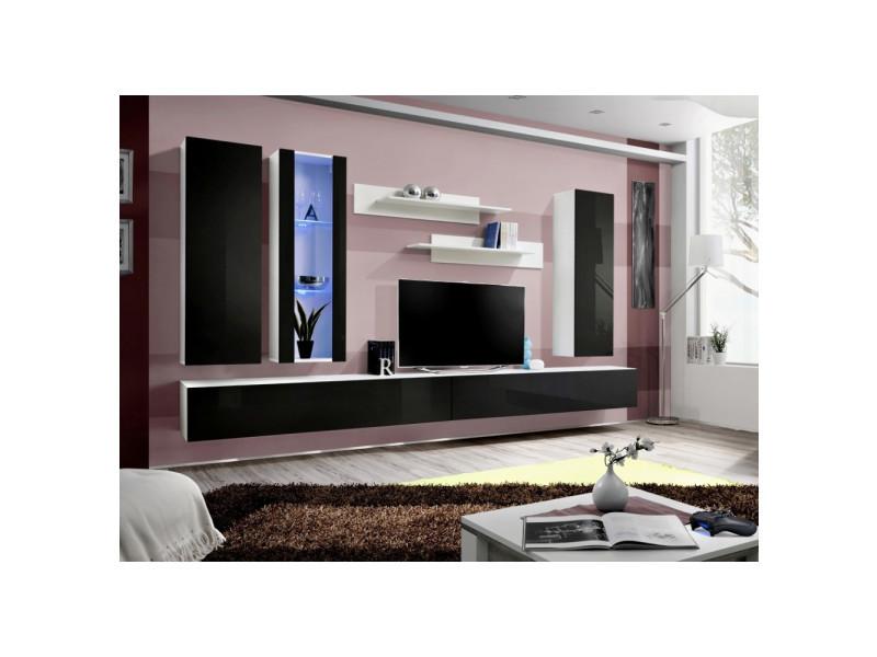 Ensemble meuble tv mural - fly ii - 320 cm x 190 cm x 40 cm - blanc et noir