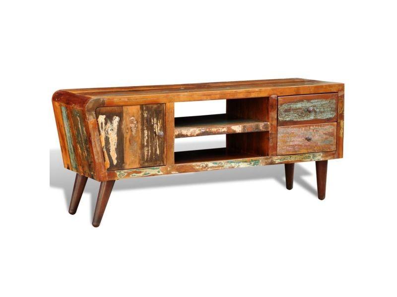 Splendide meubles collection funafuti meuble tv vintage multicolore 1 porte et 2 tiroirs