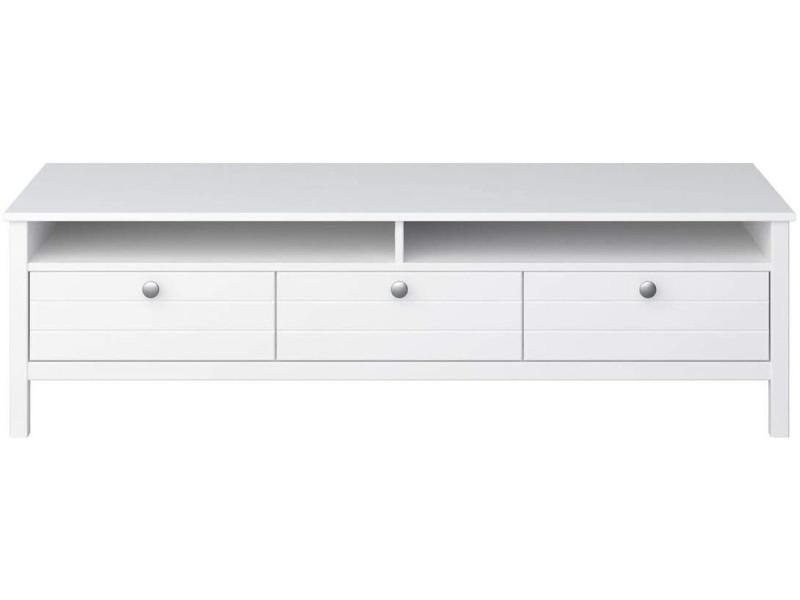 Meuble tv en mdf coloris extra blanc - 40 x 140 x 45 cm -pegane-