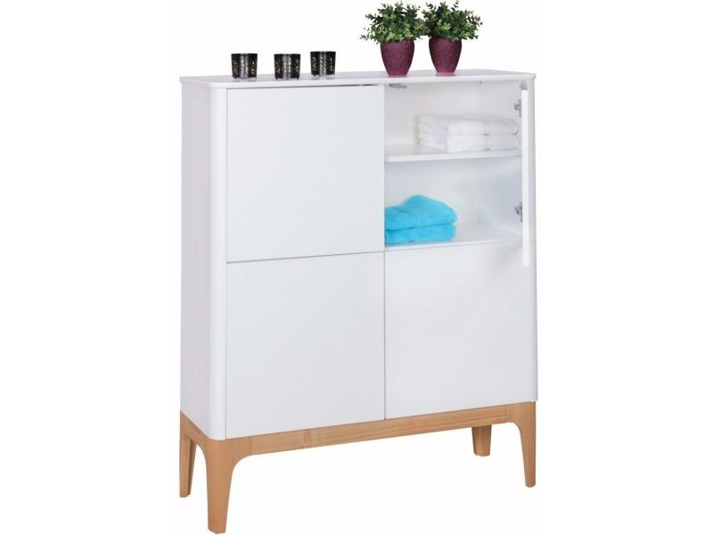 Meuble bar scandinave 110x140x40 cm à 4 portes en bois mdf coloris blanc  collection c,