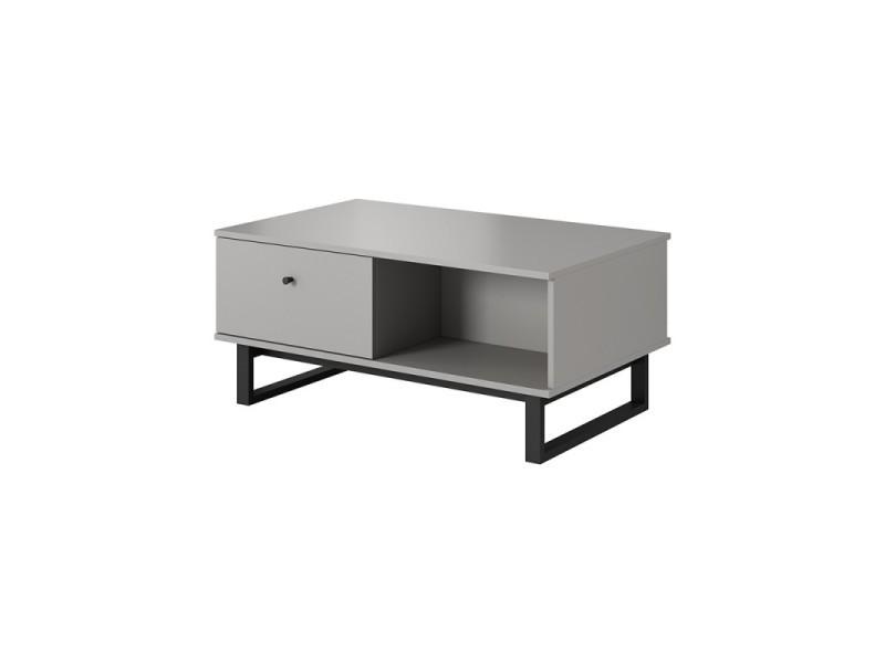 Table basse industrielle aviro couleur bois et gris