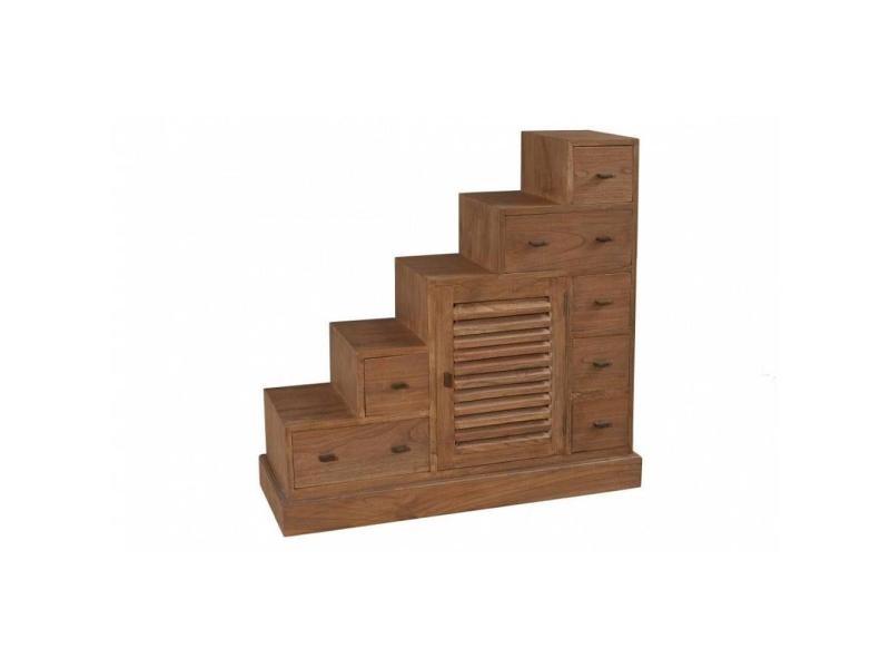 meuble escalier 7 tiroirs laura en mindi style colonial. Black Bedroom Furniture Sets. Home Design Ideas