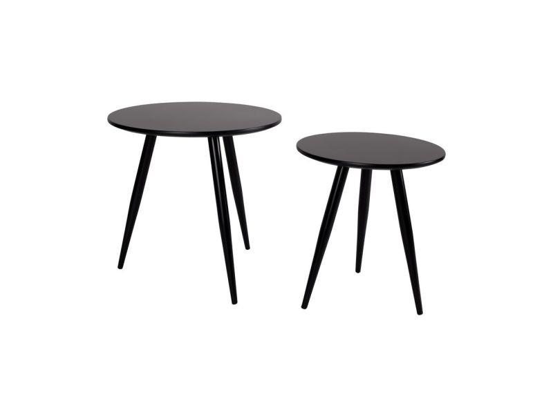 Lot de 2 tables d'appoint laquées daven - couleur - noir 2300076