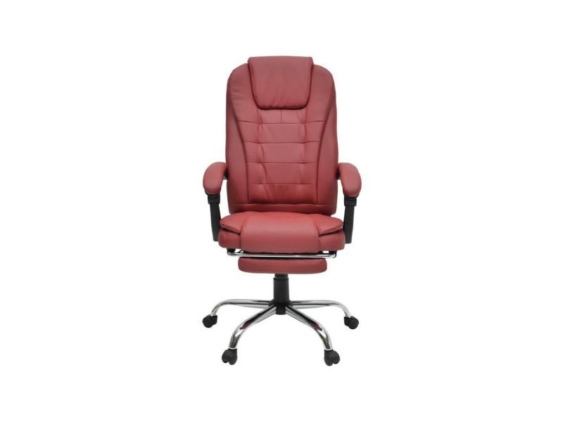 Mack Chaise De Bureau Simili Rouge Bordeaux Style Industriel L