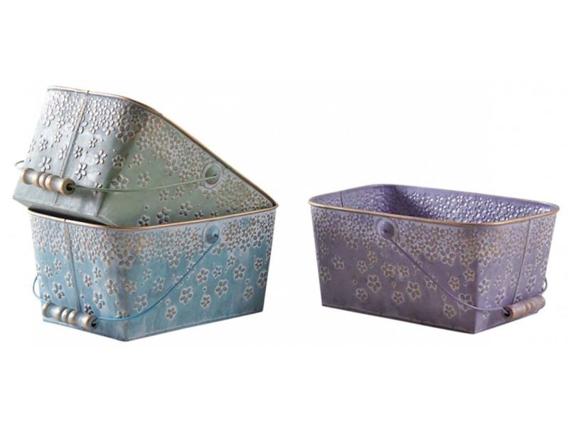 Paniers rectangulaires colorés en métal motif fleurs 25 cm (lot de 3)