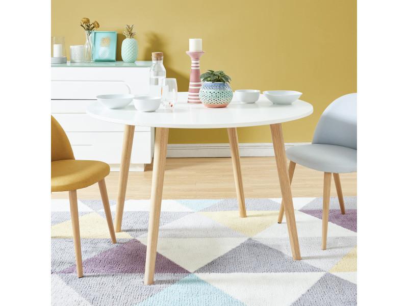 Table à manger ronde oratello - laqué blanc mat - d120cm TBORATEBS01_112