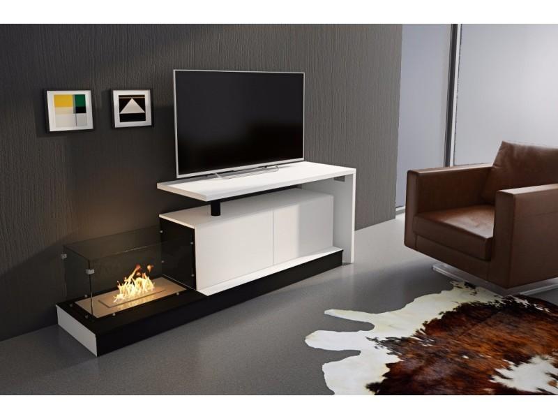 Home Innovation Ensemble Tv Meuble Tv Avec Cheminee Bioethanol Et