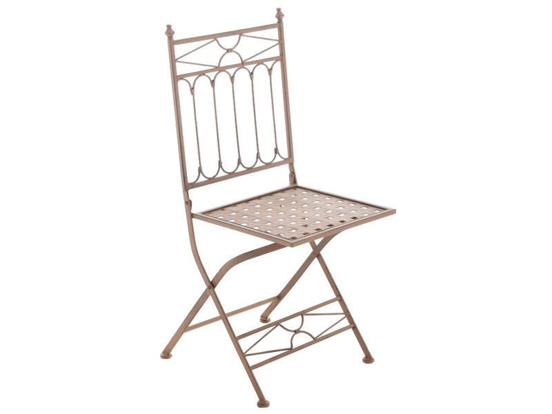 Chaise en fer coloris brun antique - 95 x 40 x 40 cm - pegane-