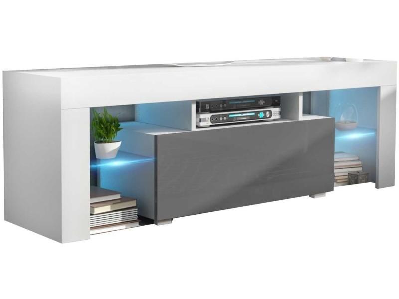 Meuble tv 130 cm blanc et gris led rgb