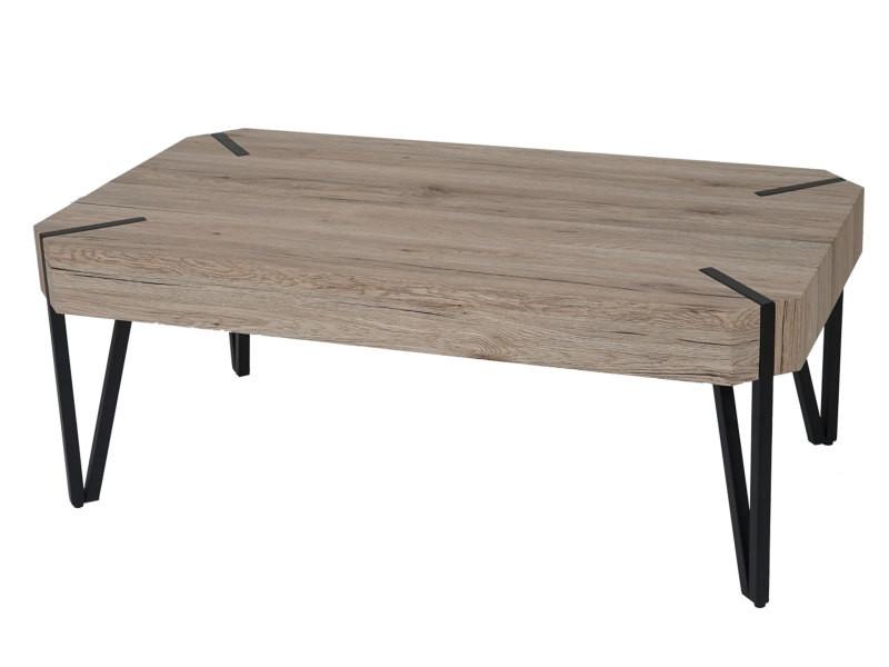 Table basse de salon kos t573, fsc 43x110x60cm ~ optique chêne sanremo, pieds métalliques foncés