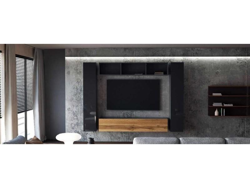 Ensemble de 4 meubles suspendus noir mat / chêne wotan + noir laqué