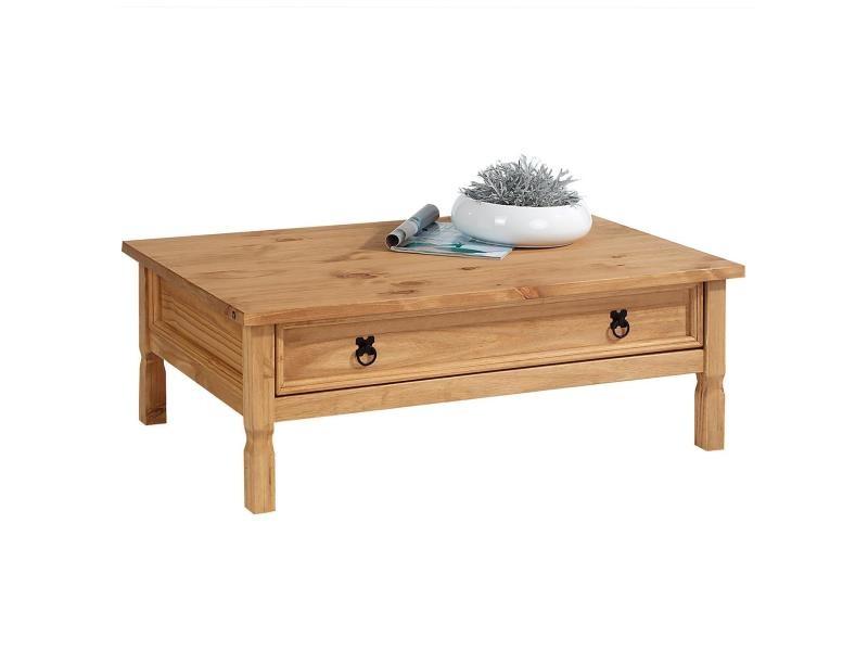 Table basse de salon tequila plateau rectangulaire en bois style mexicain avec 1 grand tiroir, en pin massif teinté et ciré