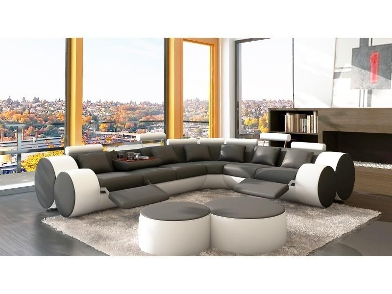 Canapé d'angle cuir gris et blanc + positions relax roma-