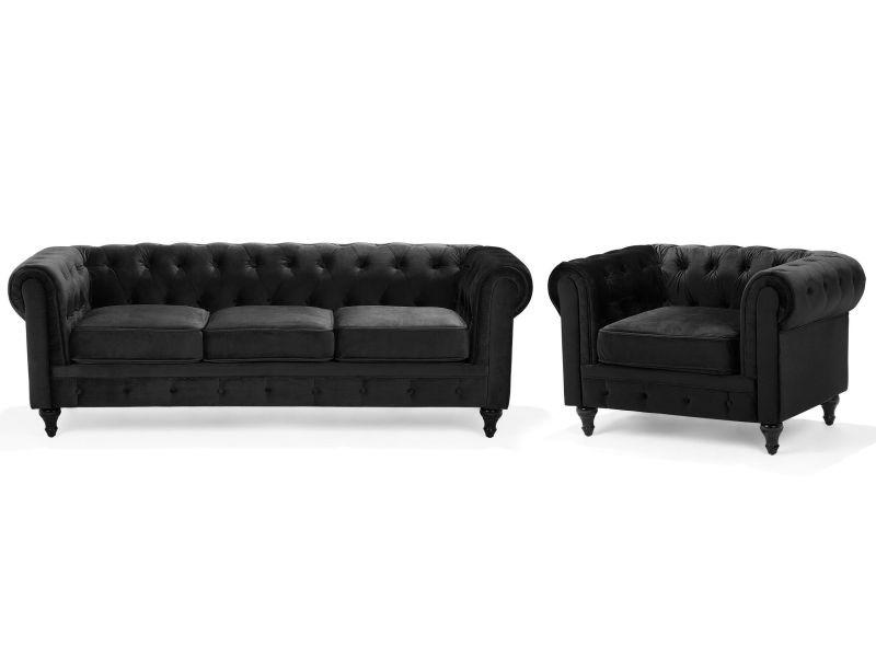 Ensemble canapé et fauteuil en velours noir 4 places chesterfield 103168
