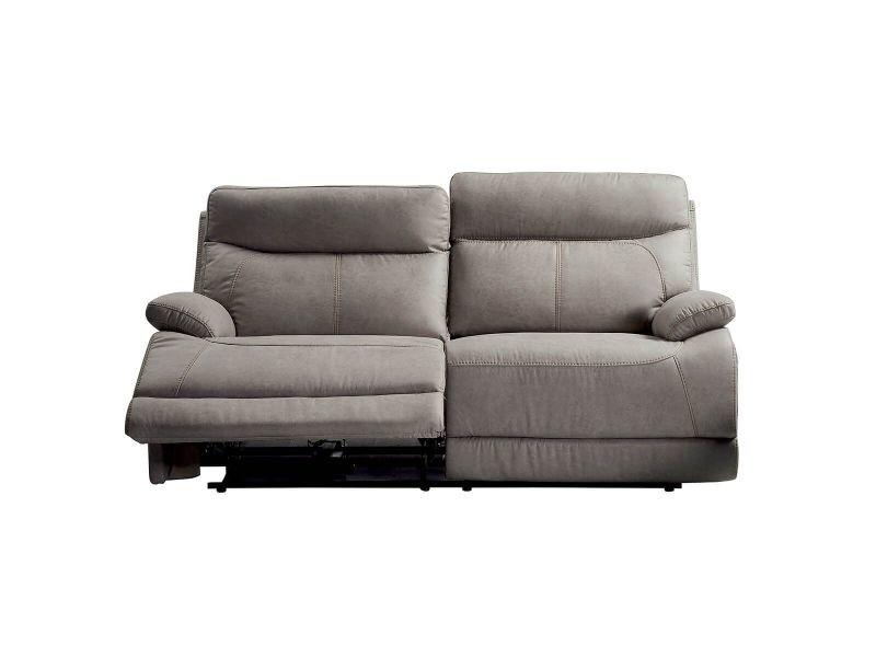 Cordoue - canapé relax electrique 3 places tissu gris