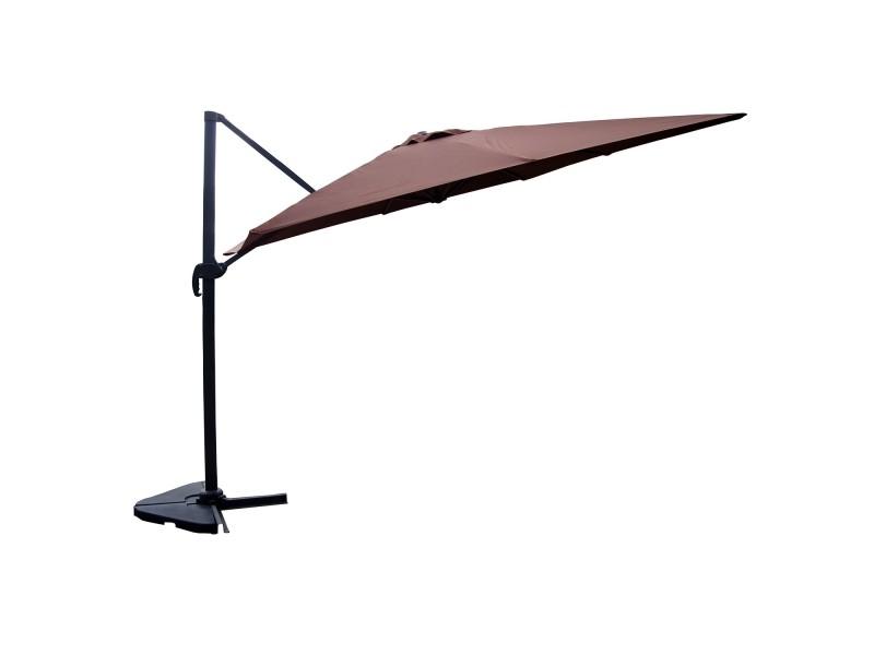 Panaro chocolat : parasol déporté, rectangulaire de 3x4m , rotatif à 360° 1322