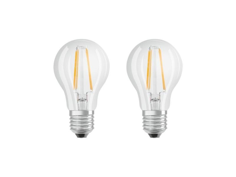 Osram lot de 2 ampoules led à filament | culot e27 | forme standard | blanc chaud 2700k | 6w (équivalent 60w)
