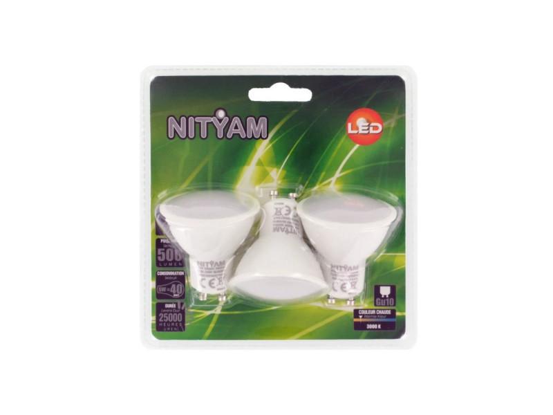 Nityam lot de 3 ampoules spot led gu10 6w équivalence 40w blanc chaud