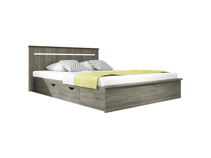 lit en bois coloris fr ne fonc avec tiroir 160x200. Black Bedroom Furniture Sets. Home Design Ideas