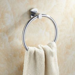 Porte-serviettes rond et contemporain en laiton chromé