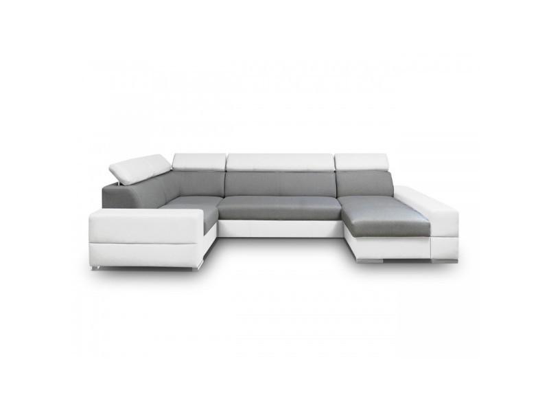 canap d 39 angle panoramique 6 places capri xxl gris et blanc tendencio vente de sans marque. Black Bedroom Furniture Sets. Home Design Ideas
