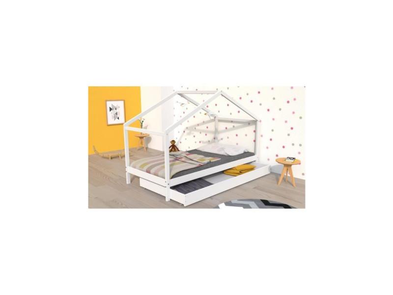 Koala lit cabane enfant avec tiroir - bois pin massif - blanc - sommier inlcus - 90x190cm KOALA13279