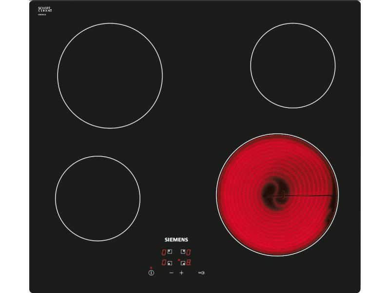 Table de cuisson vitrocéramique 60cm 4 feux 6600w noir - et611he17f et611he17f