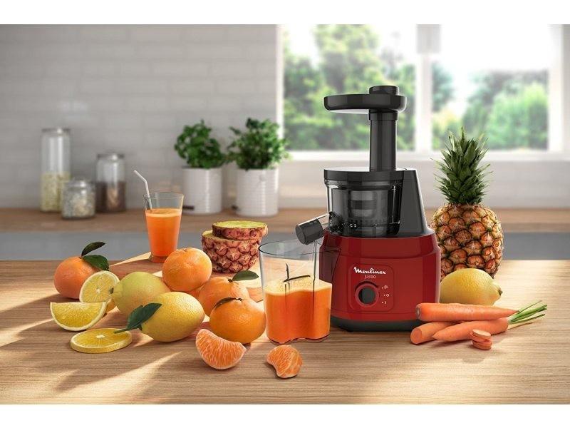 Extracteur de jus pour fruits et légumes 80 tours/minute 150w rouge noir
