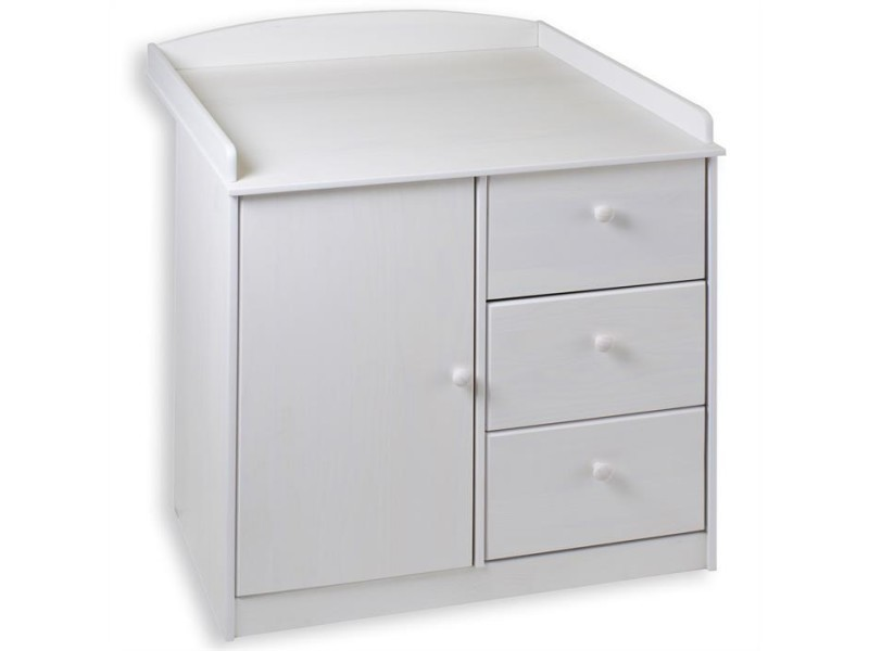 commode table langer rondo pin massif lasur blanc vente de. Black Bedroom Furniture Sets. Home Design Ideas