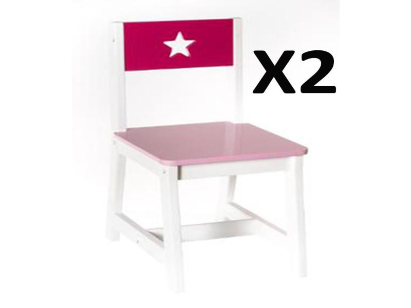 Lot chaises bois pour et de blanchel 2 28 rose enfants en lFuT35K1Jc
