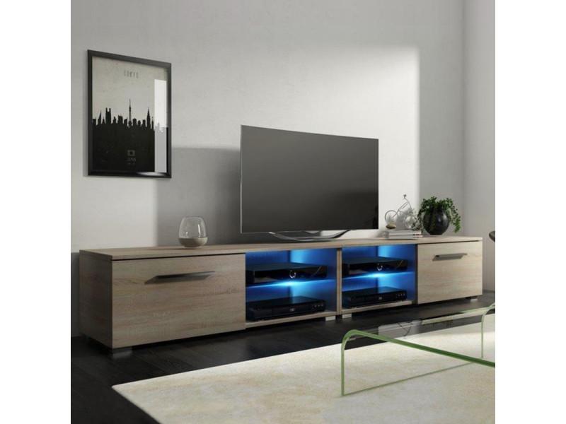 Meuble tv / banc tv - tenus double - 200 cm - effet chêne - avec led