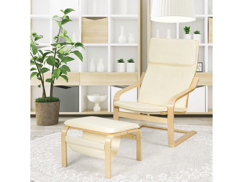 Giantex fauteuil inclinable avec repose-pied, style contemporain et design ergonomique, coussin amovible, idéal pour salon, balcon, chambre etc. Blanc/gris (blanc)