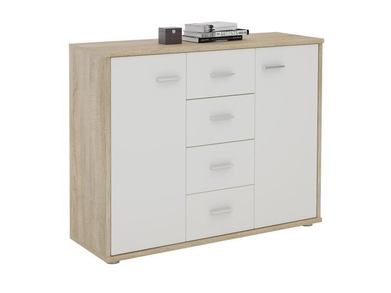 buffet elodie commode rangement tiroirs mdf m lamin d cor ch ne sonoma et blanc mat vente de. Black Bedroom Furniture Sets. Home Design Ideas