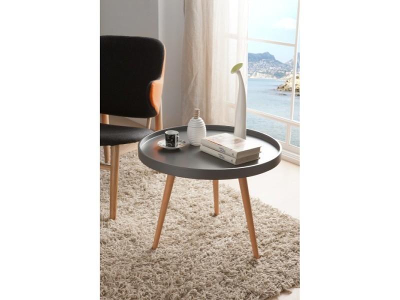 table basse ronde diam tre 60cm en bois laqu gris semi mat et ch ne rudy l 60 x h 45 vente. Black Bedroom Furniture Sets. Home Design Ideas